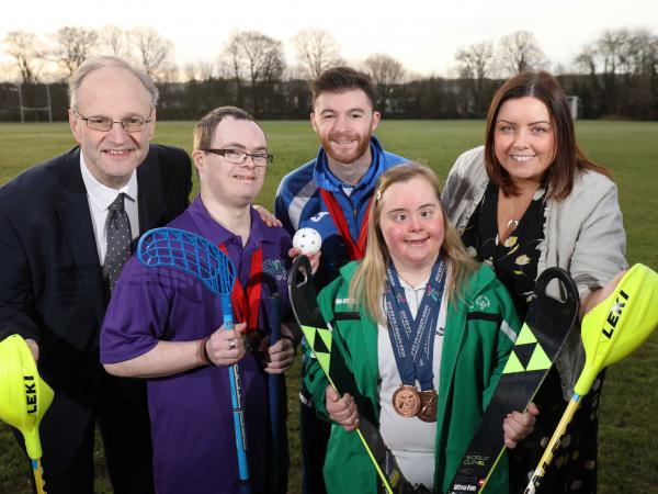 Ministers Weir, Stephen Kennedy, Llyod Clarke, Minister Deirdre Hargery and Lucy Best at the launch of the 2020 Special Olympics Ireland Winter Games in Stormont