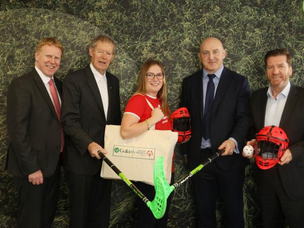 Gala Retail Services renews it's four year partnership with Special Olympics Ireland. Pictured are CEO Gary Desmond, ambassadors Mícheál Ó Muircheartaigh and Keith Wood, alongside athlete Emma Johnstone and CEO Matt English