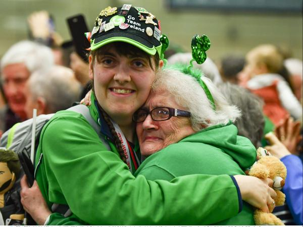 Athlete Sarah Gilmartin is welcomed home by her mother at Dublin Airport as she arrives back after the 2019 World Summer Games in Abu Dhabi