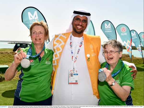 Athlete Mairead Moroney with her playing partner Jill Moloney winning a silver medal at the 2019 World Summer Games in Abu Dhabi