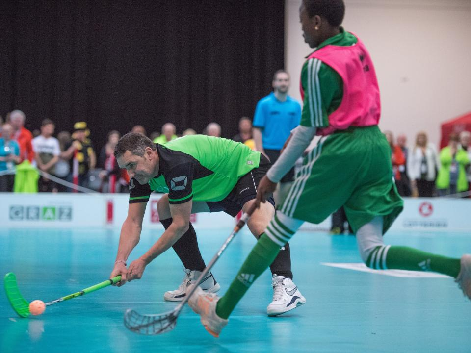 Floorball is a sport similar to ice hockey but play indoors on a court