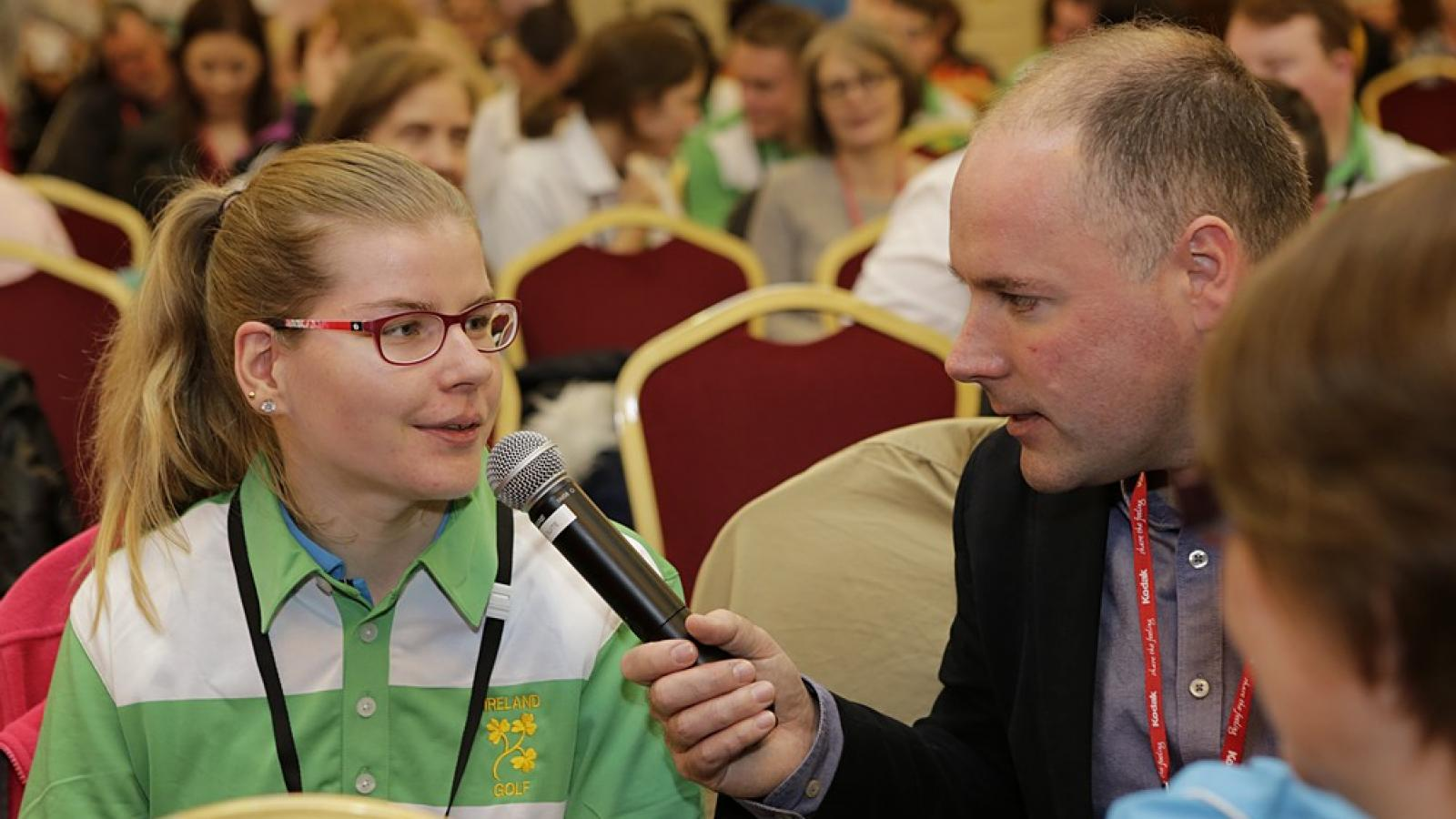 Reporter Henry McKeane interviews athlete Edel Armstrong at our Athlete Leadership Forum